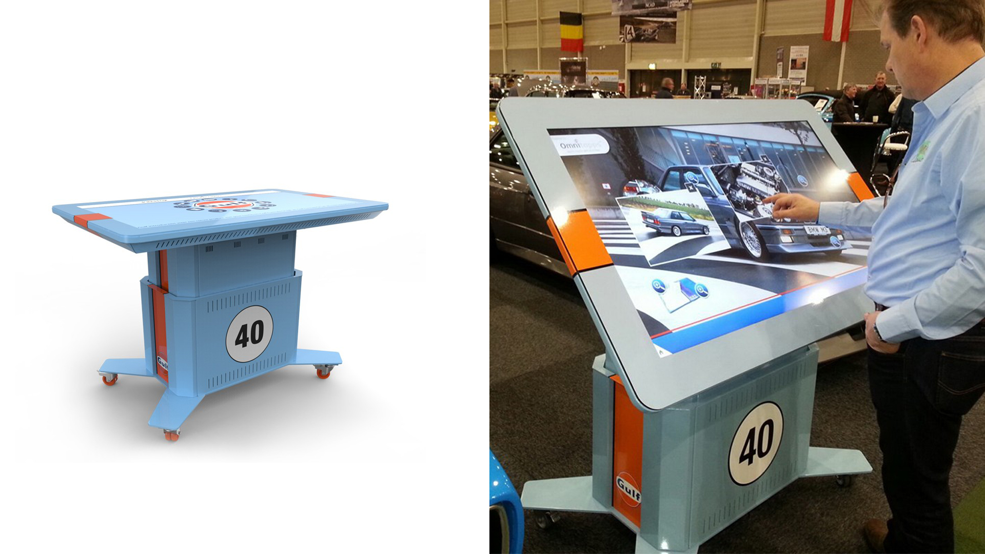 branded multitouch table and lift Gulf