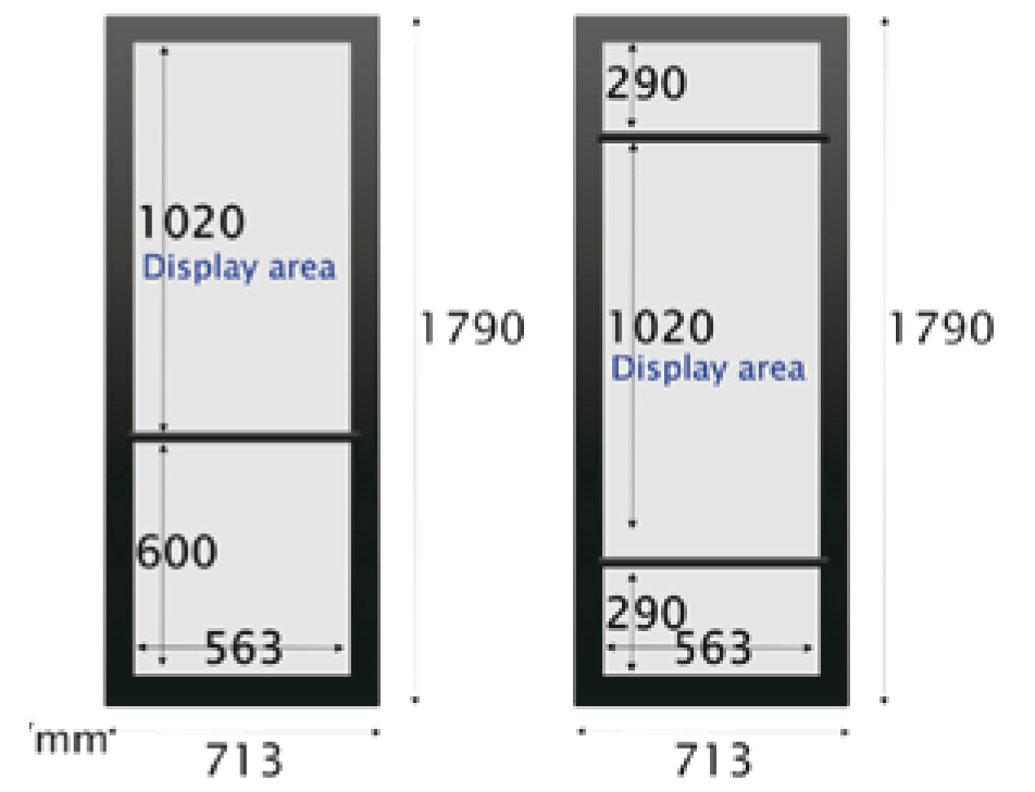 Custom Transparent LCD Fridge Door Design measurements